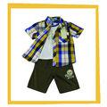 2014 los bebés varones del bordado de verificación camisas y camisetas y pantalones vaqueros pantalones conjunto