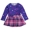 ( h3693) pbr 12m-5y nova de invierno los niños vestidos de polka dot revisados de manga larga bebé niñas vestido de la manera