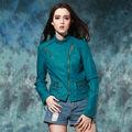 cremallera lateral de la pu dama blazer jaqueta de de couro feminina, moda chaqueta de cuero verde más el tamaño de las mujeres