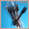 pp negro de plástico desechables tenedor de cóctel