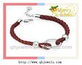 personalizada de cuero trenzado anillos pulseras de perlas de diseño para la venta