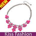 2014 Moda púrpura de las flores de resina Collar llamativo collar antipulgas