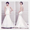 simples e limpo sereia cetim vestido de noiva com bordados atado halter e zíper nas costas do vestido de casamento