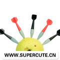 Nouveaux produits chauds pour 2014 fléchettes en plastique drôle personnalisée porción de fruta tenedor