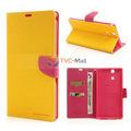 Mercurio Fancy Diario Caso de cuero magnético Goospery para Sony Xperia Z Ultra C6806 C6802 C6833 XL39h - Rose / amarillo
