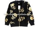 venta al por mayor nuevo 2014 niños niñas el cráneo de impresión niños chaqueta de punto negro chaqueta