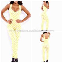 2014 caliente venta al por mayor de moda de las señoras vendaje de color blanco con monos de amarillo
