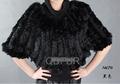 QD27874 venta caliente de color negro tejer naturaleza real de conejo mantón de la piel 2014