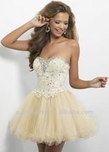2014 novia balón vestido de bola vestido apliques de cuentas corto/mini niñas cargan vestido de regreso a casa