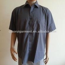 hombres de manga corta gris ocio camisa de trabajo bordado uniforme de camisa