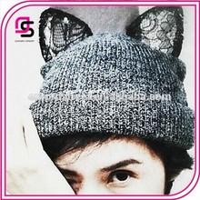 hecho a mano de punto sombrero de gato oreja sombrero