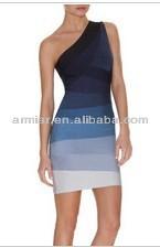 tresillo azul un hombro vestido del vendaje AM004