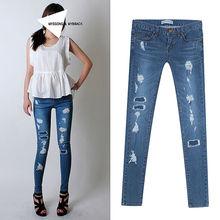 mujeres de primavera y otoño de estilo coreano pantalones, tramo de mezclilla pantalones, slim arrancó skinny jeans 6831