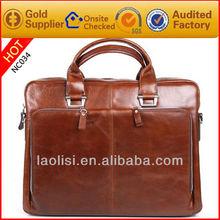 clásico de color rojo marrón de cuero de negocios bolsas bolso de mano