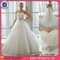 2013 modelo nuevo A-line sin tirantes de tul superpuesta vestidos de novia baratos