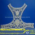 moda 2014 diseño embrodiery de algodón blusa de encaje de cuello de china