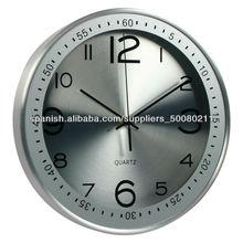 """La decoración del hogar moderno 12"""" de cuarzo ronda internacional reloj de pared de metal"""