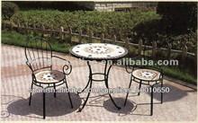 Juego Mesa Redonda Mosaico de Forja con Sillas exterior/Conjunto Mobiliario Mueble de Jardín y Cámping*