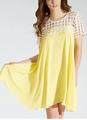 2014 nova amarelo manga curta chiffon feitio vestido túnica para as mulheres