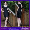 color negro fuera del hombro mini acanalada formal vestido de fiesta para las señoras jóvenes