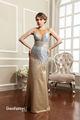 marvelous 2014de oro y plata de manga corta para mujer de largo vestido de noche