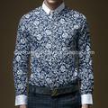2014 nuevo diseño hombres slim fit de cuello blanco flor de manga larga camisetas de impresión
