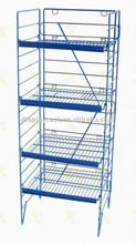 tienda de venta al por menor azul plegable de metal estante de alambre