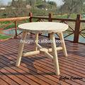 registro de sólido de la ronda de madera mesa de jardín