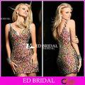 Lujo pd158 correas V-cuello cristalino brillante vestido corto moldeado pesado del baile
