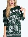 nuevo diseño de navidad de punto suéter de la mujer
