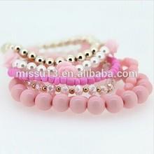2014 dama nuevo estilo de color rosa perla pulsera de moda