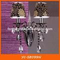 Cabezas de doble tela de la raya sombra habitación de un hotel de la pared la luz con la decoración de cristal yc-58099n