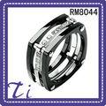 RM8044 Titanium IP Negro Multi 11mm anillo de bodas anillo plateado CZ Piedras Ancho de banda