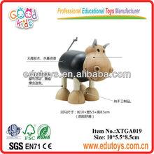 Animal de madera juguetes para bebés- hipopótamo juguete