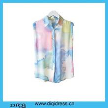 2015 último diseño dgital impresión blusa de gasa para damas