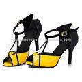 las mujeres de moda negro amarillo latina de baile de salsa zapatos