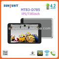 2014 Top ten de tabletas 2013 7.85 pulgadas ips wifi gps de doble núcleo g- bluetooth sensor de mt83-d785 pc table