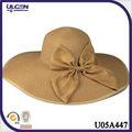 2014 sombreros grande de verano con bowknot sombrero paja dama