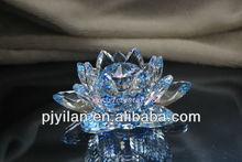 magnífico mar azul de cristal flor de loto para la decoración del hogar