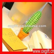 Cactus oxgift pluma, cactus olla pluma/mejor- venta de silicona de promoción de la pluma de cactus con olla