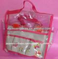 人気のある透明な明確なポリ塩化ビニール付きビニール袋赤バインディングとウェビングのハンドル