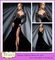 2014 Nuevo Modelo de longitud de la raja del lado Keyhole Volver Negro manga larga de terciopelo de los vestidos de noche (BG54)