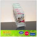 5 nuevos niveles de plástico transparente folleto soporte de la muestra/de plástico transparente 5 nivel folleto de pie