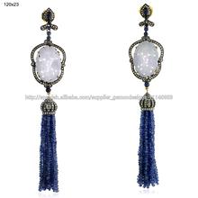 los granos azules de zafiro pendientes colgantes de diamante tallado piedra preciosa del jade de la joyería al por mayor
