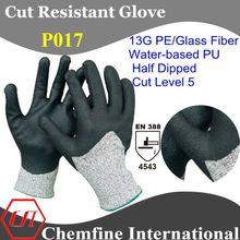 Resistente al corte gris 13g pe/de fibra de vidrio de punto guantes con agua negro- la base de la pu revestimiento liso en la pa