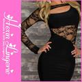 La primavera 2014 nueva venta caliente promoción de chic de encaje negro patchwork vestidos formales de oficina para las mujeres