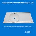 Superior de vidro de alta branca pedraartificial lavatório/lavatório para salão de cabeleireiro/lavatório superfície sólida