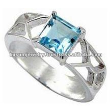 .925 anillo de la joyería de plata, joyería al por mayor anillo de topacio azul