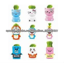 hierba que crece los juguetes de plástico de cabeza , cabeza de la hierba juguetes de vinilo de dibujos animados