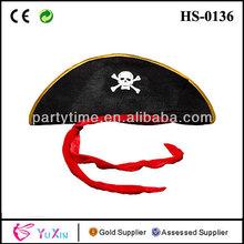 Clásico para adultos capitán pirata calavera y tibias cruzadas& elegante vestido de fiesta sombrero de tela
